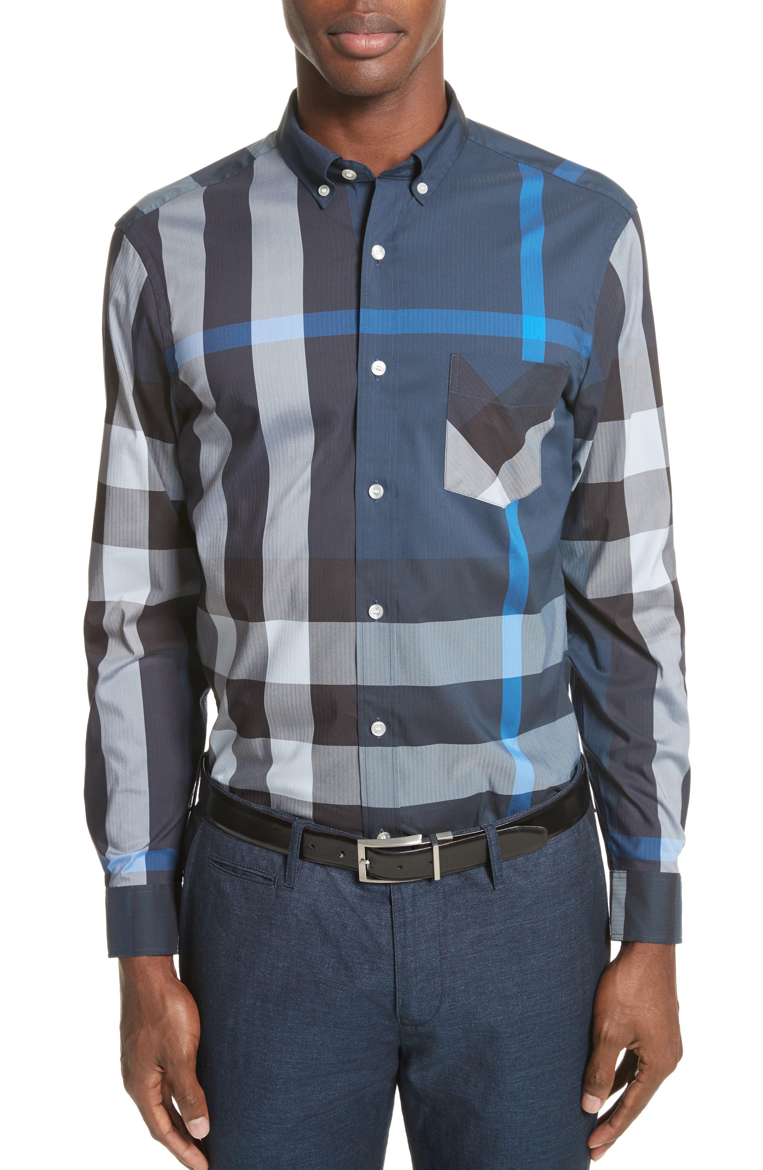 ,                             Thornaby Slim Fit Plaid Sport Shirt,                             Main thumbnail 18, color,                             406