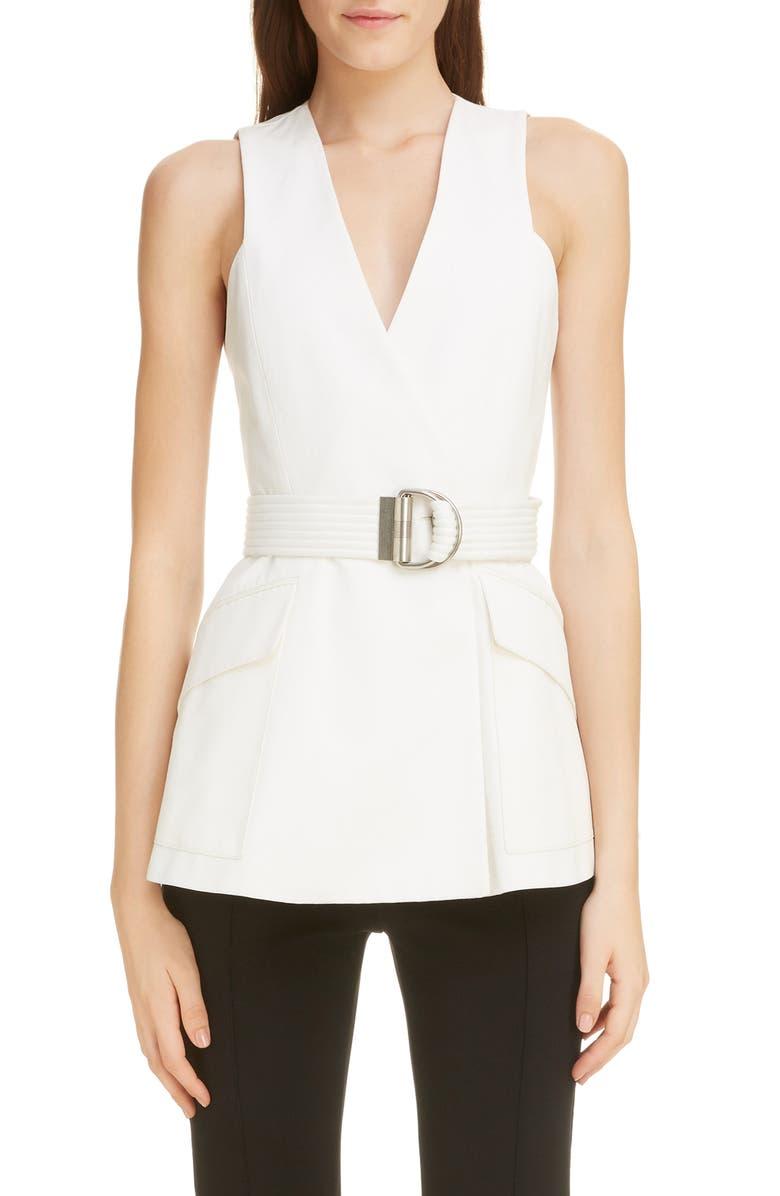 GIVENCHY 4G Logo Button Cotton Vest, Main, color, 105-IVORY