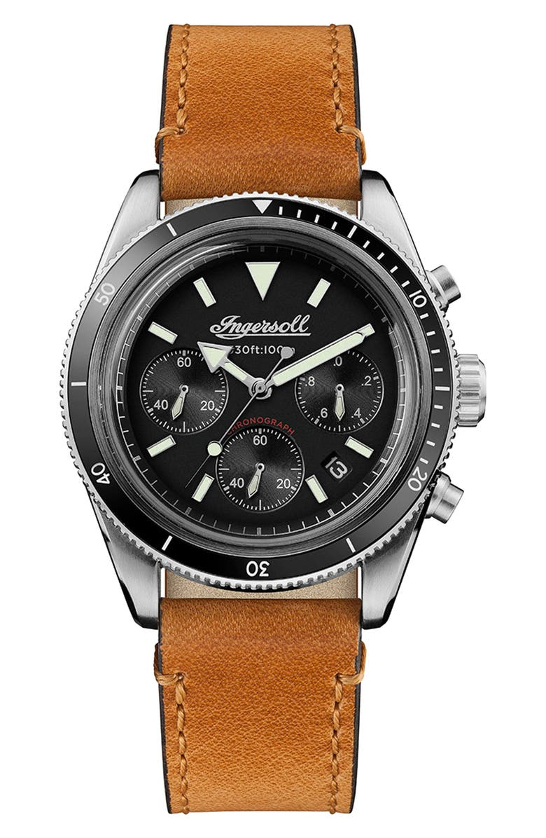 INGERSOLL Scovill Chronograph Leather Strap Watch, 43mm, Main, color, 201