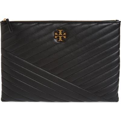 Tory Burch Kira Chevron Leather Zip Pouch - Black