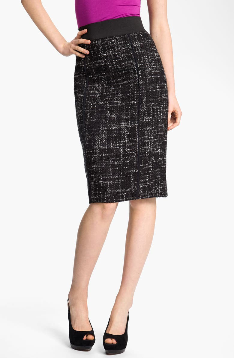 HALOGEN<SUP>®</SUP> Elastic Waistband Bouclé Skirt, Main, color, 001