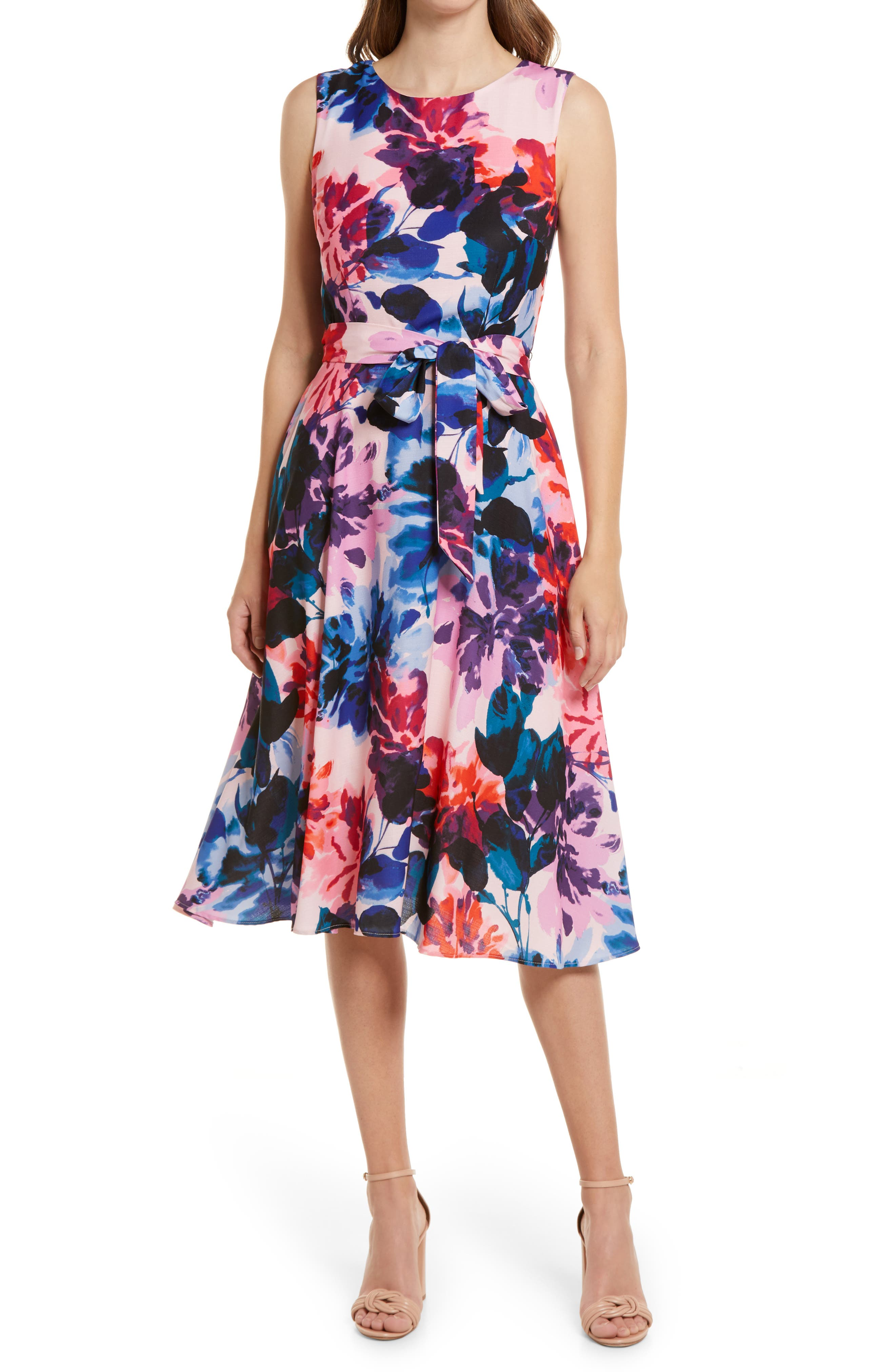 Floral Tie Waist Fit & Flare Midi Dress