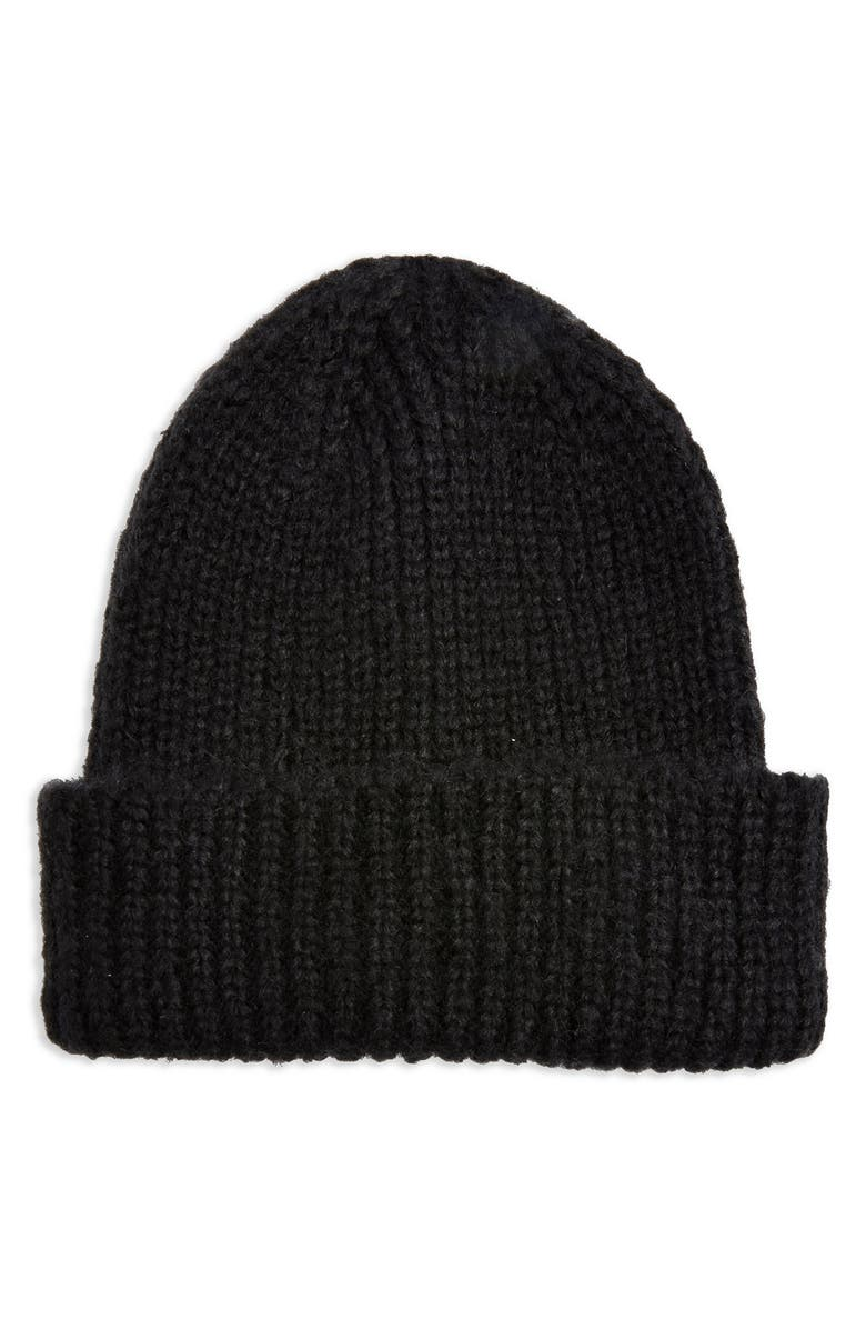 TOPSHOP Scandi Beanie, Main, color, BLACK