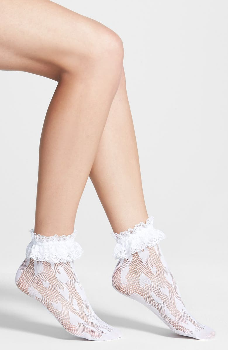 BETSEY JOHNSON 'Shortie' Lace Trim Fishnet Socks, Main, color, 100