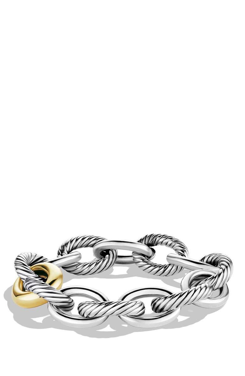 DAVID YURMAN 'Oval' Extra-Large Link Bracelet with Gold, Main, color, 040