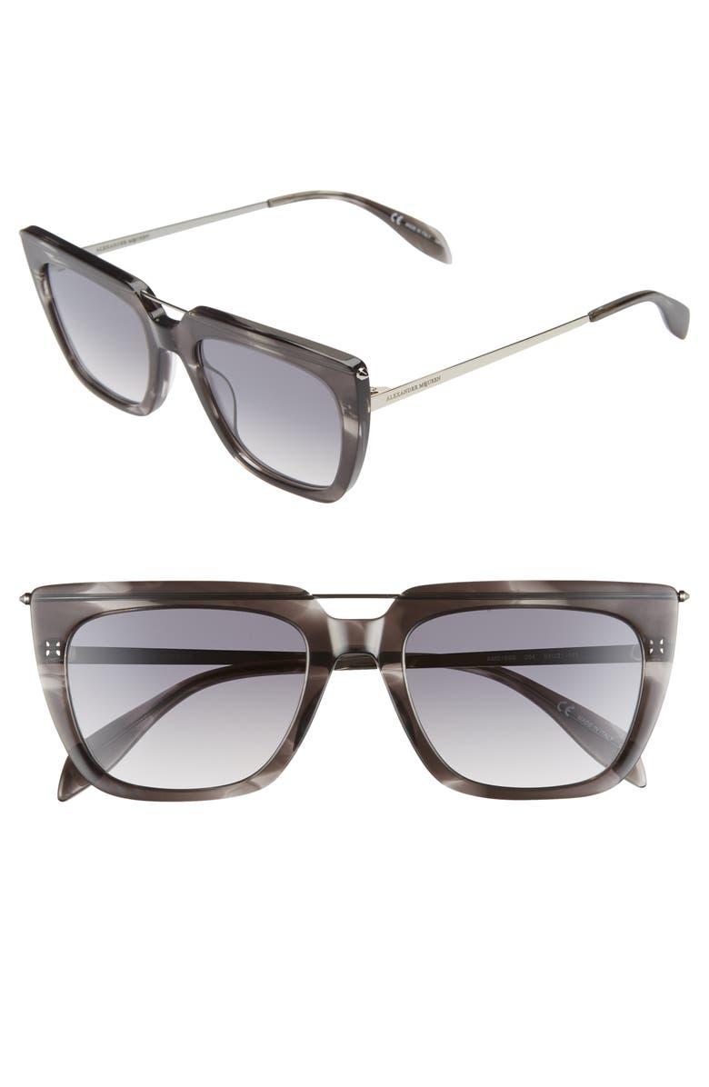 ALEXANDER MCQUEEN 54mm Sunglasses, Main, color, GREY/ RUTHENIUM