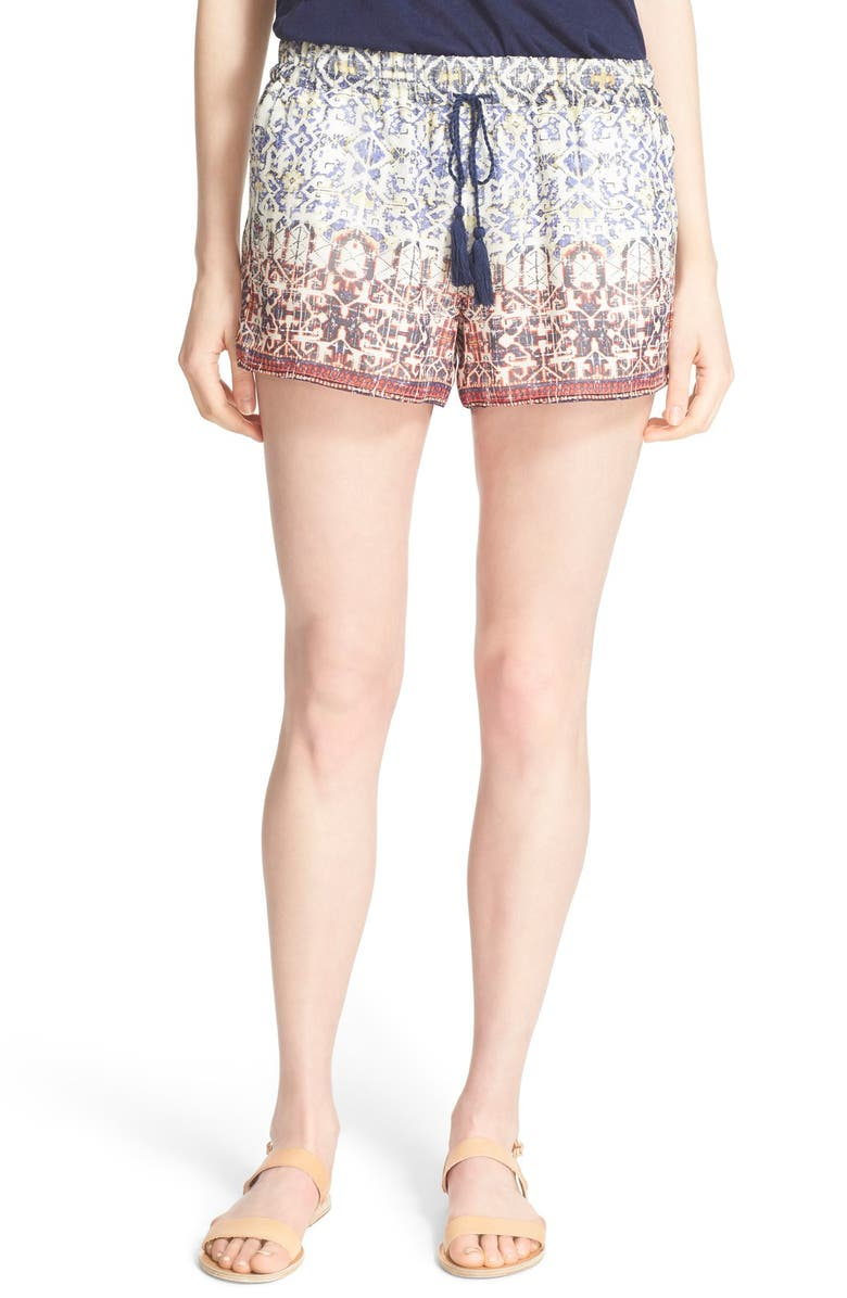 JOIE 'Lindee' Print Silk Shorts, Main, color, BLUE PRINT