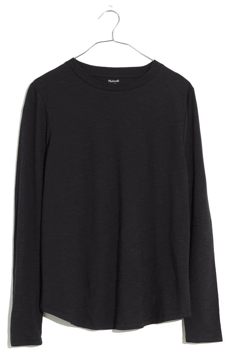 MADEWELL Whisper Cotton Rib Crewneck Long Sleeve T-Shirt, Main, color, TRUE BLACK
