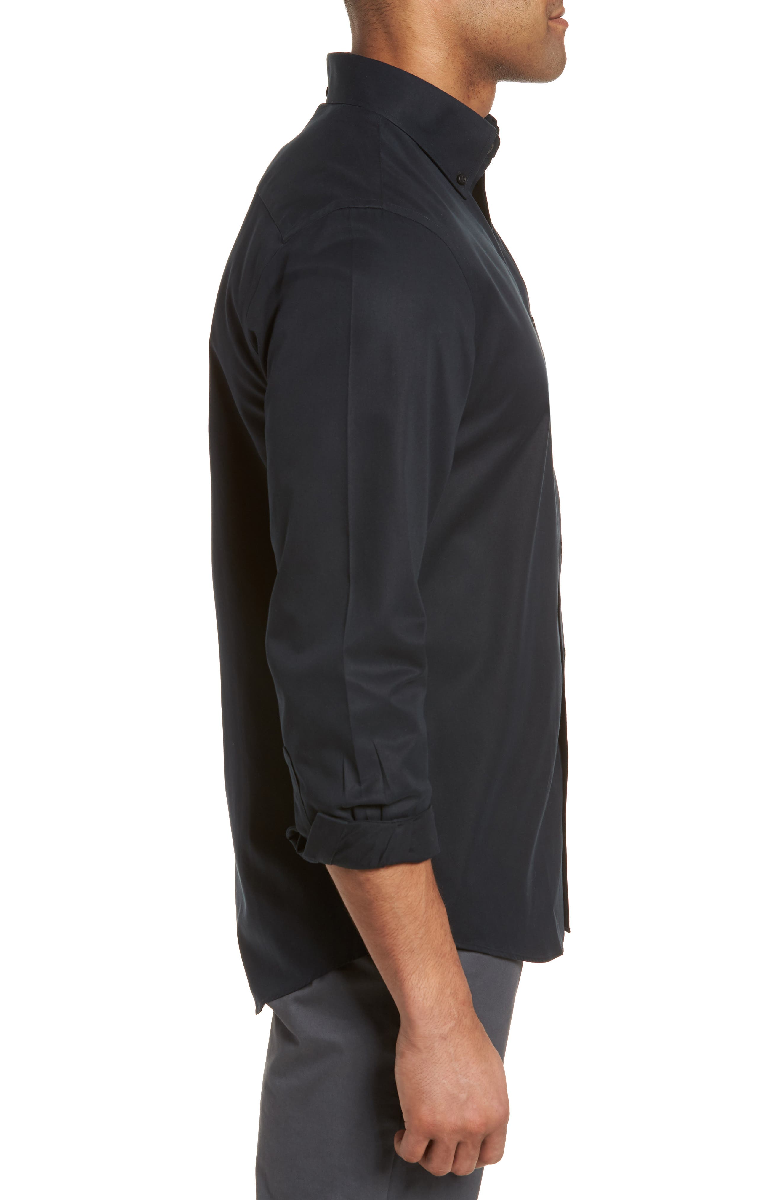 ,                             Smartcare<sup>™</sup> Traditional Fit Twill Boat Shirt,                             Alternate thumbnail 3, color,                             BLACK