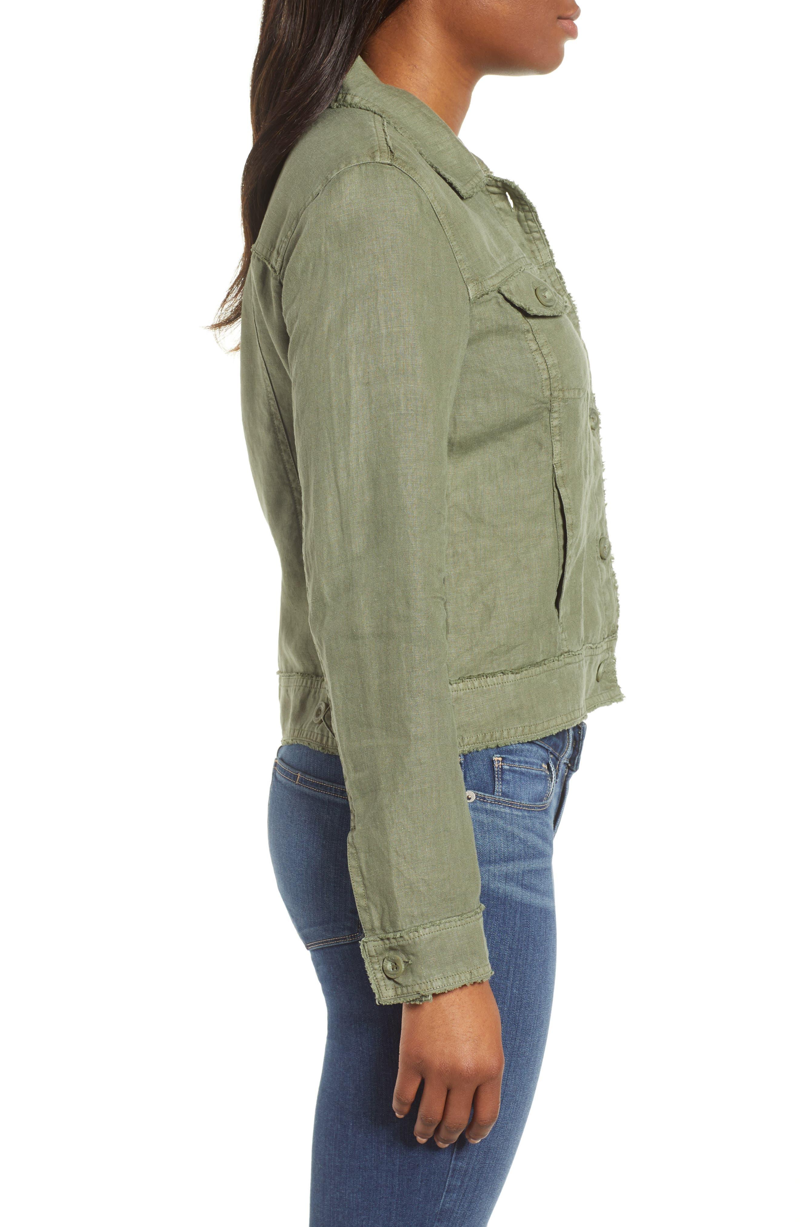 ,                             'Two Palms' Linen Raw Edge Jacket,                             Alternate thumbnail 4, color,                             TEA LEAF
