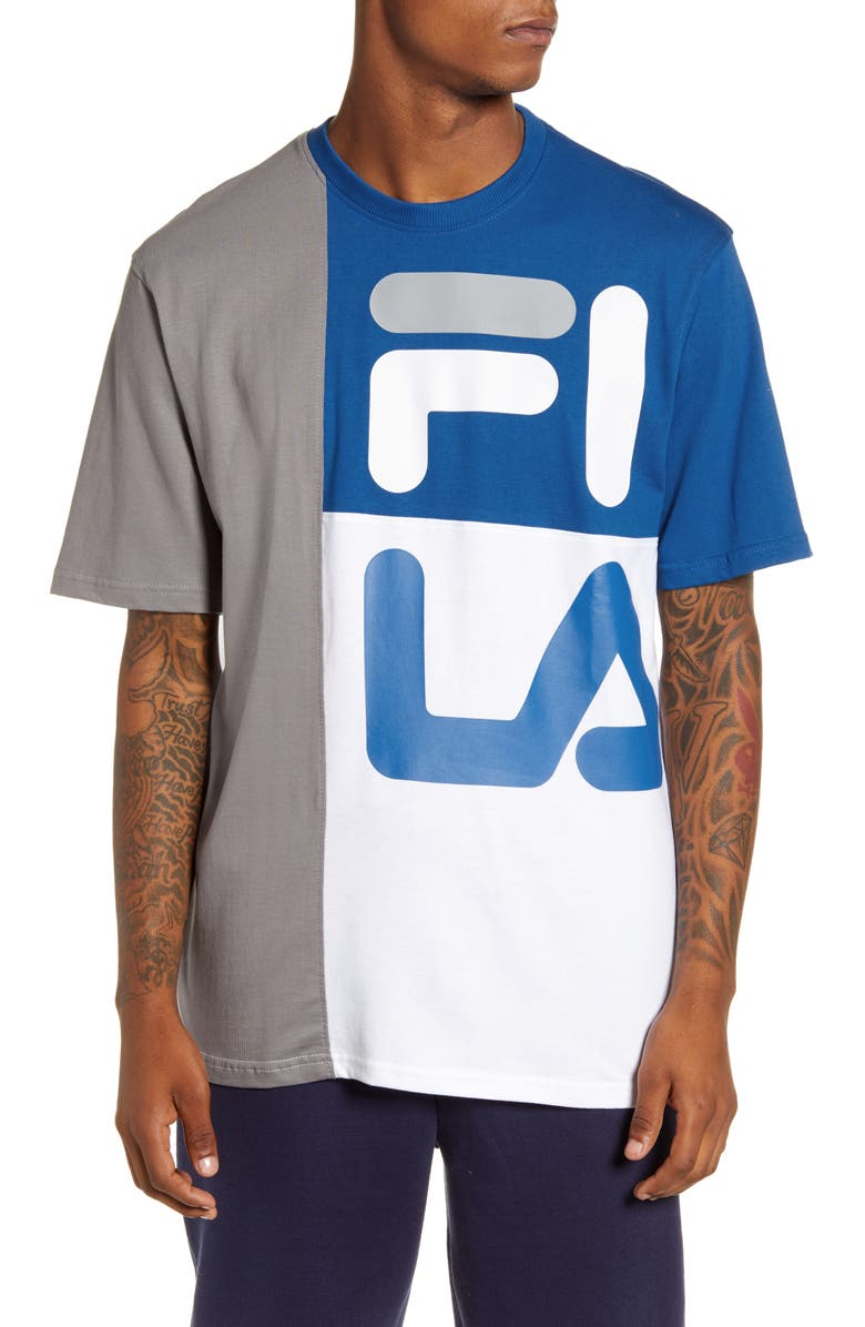 FILA Indo Colorblock T-Shirt, Main, color, FROST GRAY/ BLUE/ WHITE