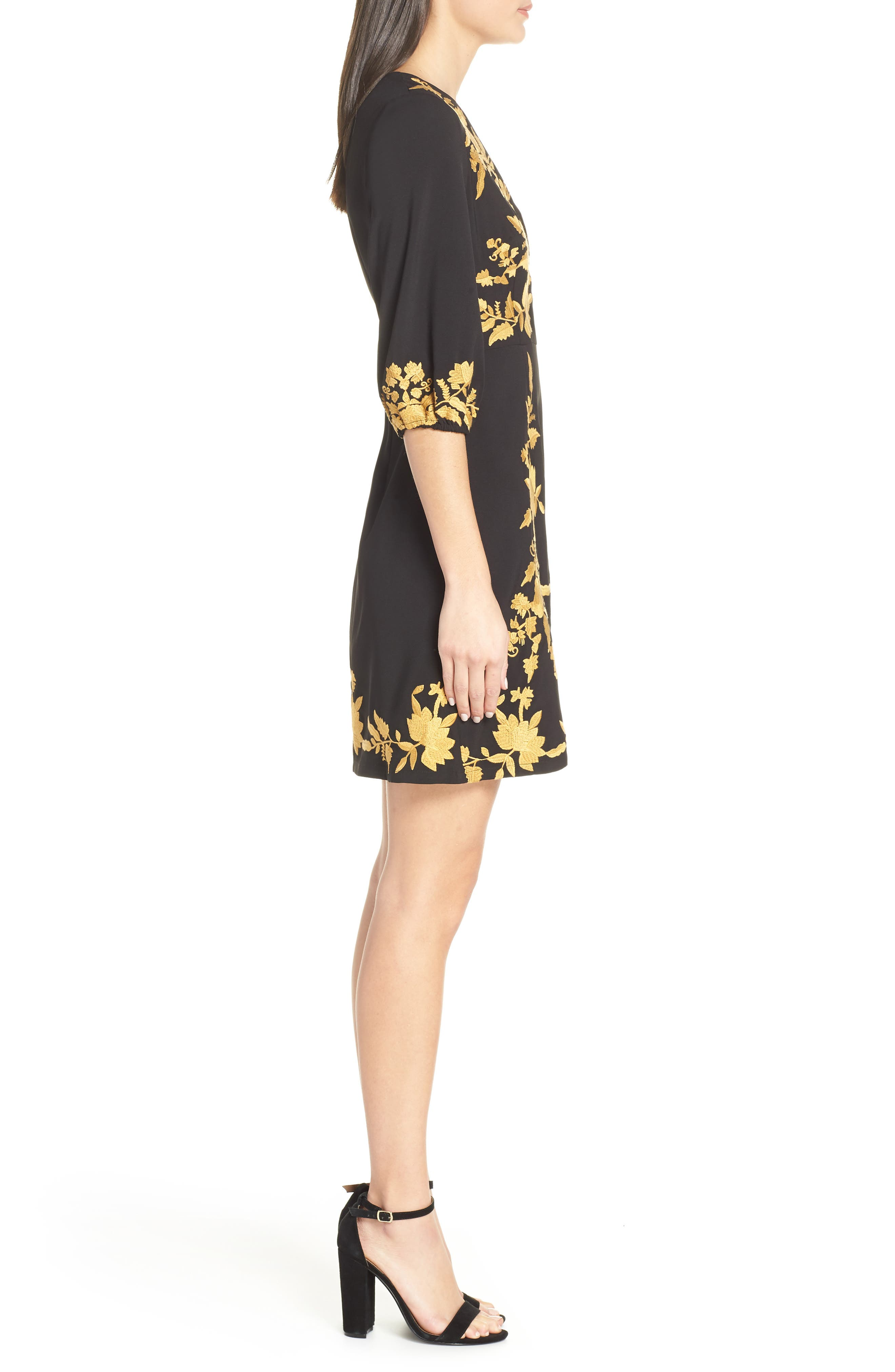 ,                             Melia Embroidered Cocktail Dress,                             Alternate thumbnail 4, color,                             001