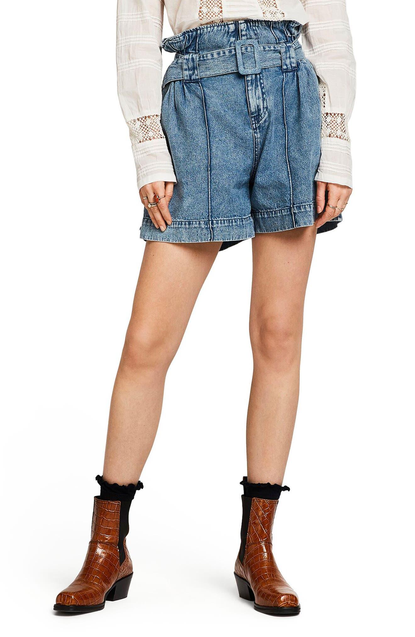 Vintage Shorts, Culottes,  Capris History Womens Scotch  Soda High Paperbag Waist Denim Shorts $145.00 AT vintagedancer.com