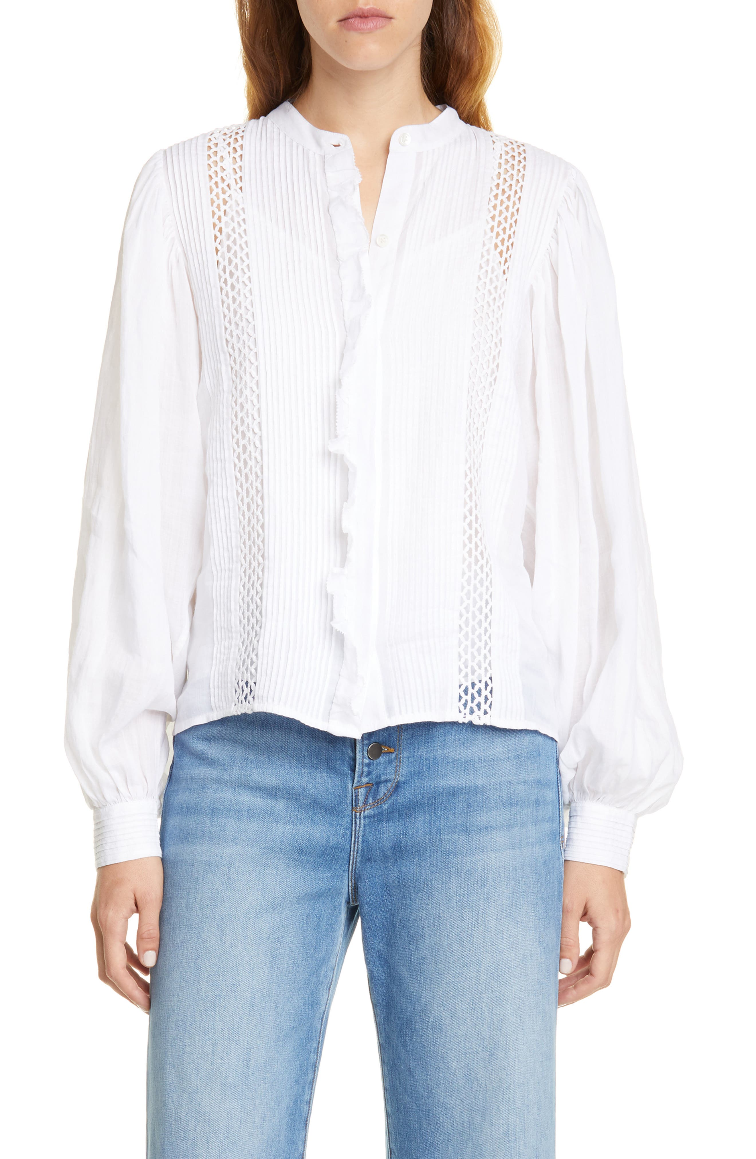 Frame Tops Lace Inset Ruffle Placket Blouse