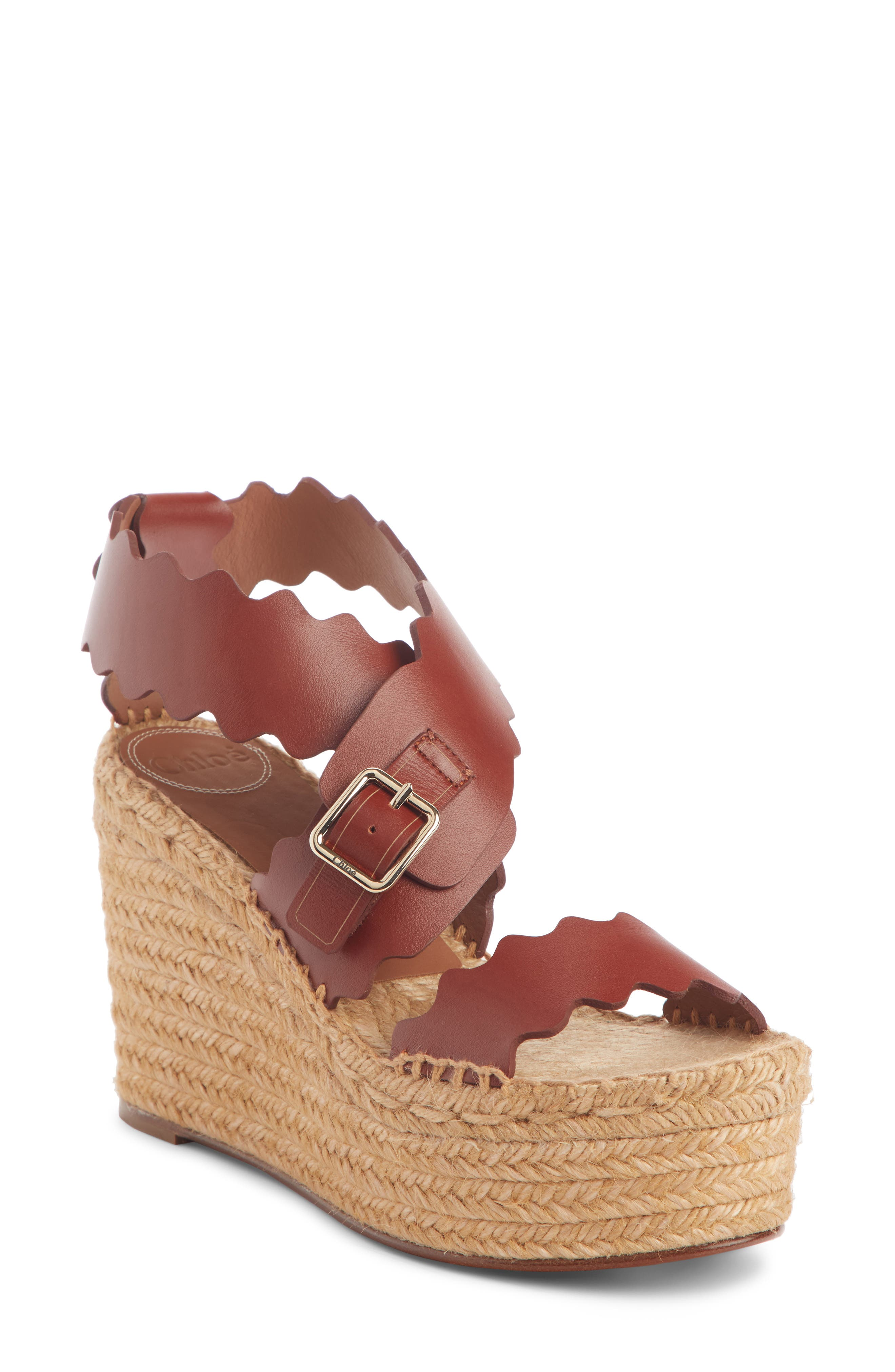 Image of Chloe Lauren Leather Espadrille Platform Wedge Sandal