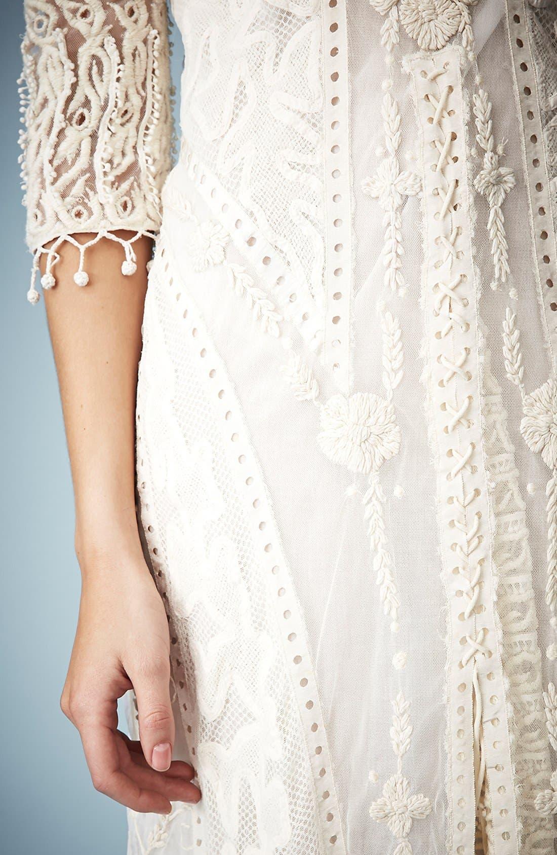 ,                             Kate Moss for Topshop Crochet Lace Maxi Dress,                             Alternate thumbnail 2, color,                             101