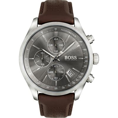 Boss Grand Prix Chronograph Leather Strap Watch