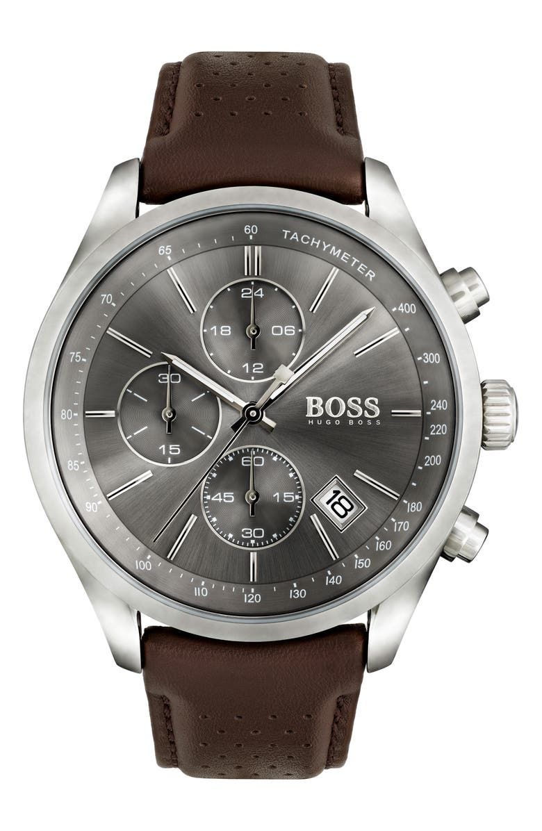 BOSS Grand Prix Chronograph Leather Strap Watch, Main, color, BROWN/ GREY/ SILVER