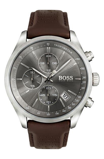 Boss Watches GRAND PRIX CHRONOGRAPH LEATHER STRAP WATCH