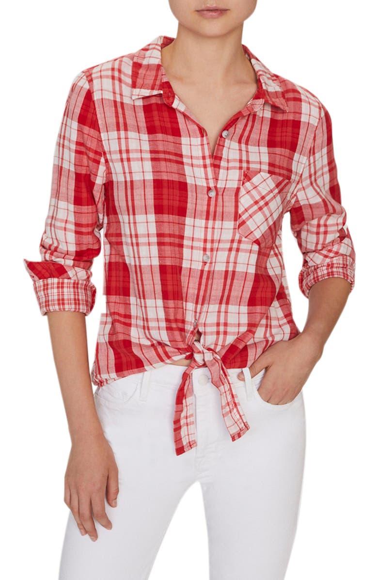 SANCTUARY Hayley Tie Front Cotton Blend Blouse, Main, color, 606