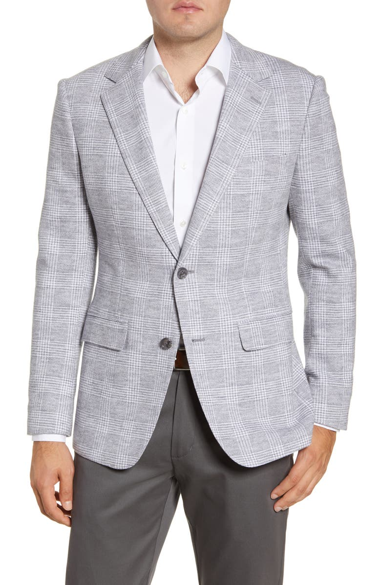 BONOBOS Slim Fit Plaid Wool & Cotton Sport Coat, Main, color, LIGHT GREY GLENPLAID