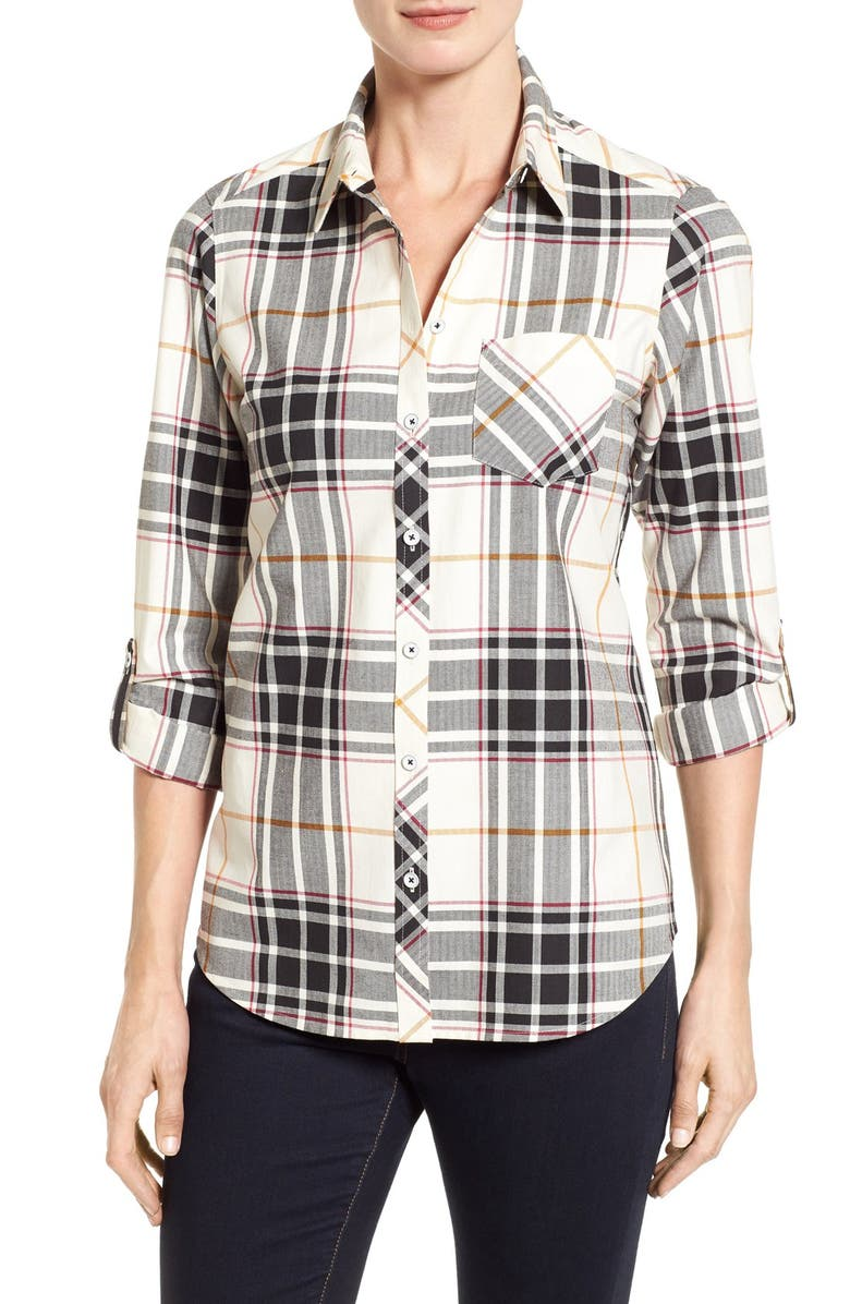 FOXCROFT Herringbone Plaid Roll Sleeve Shirt, Main, color, 906