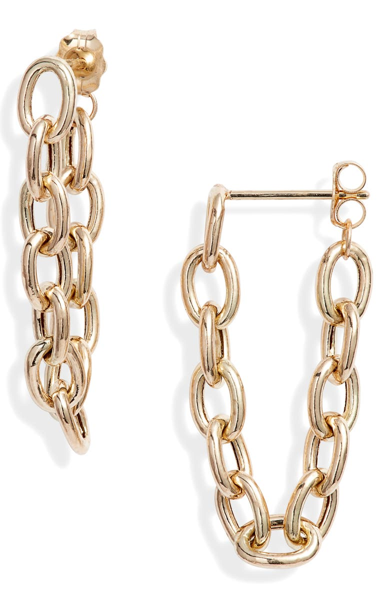ZOË CHICCO Big Oval Chain Earrings, Main, color, YELLOW GOLD