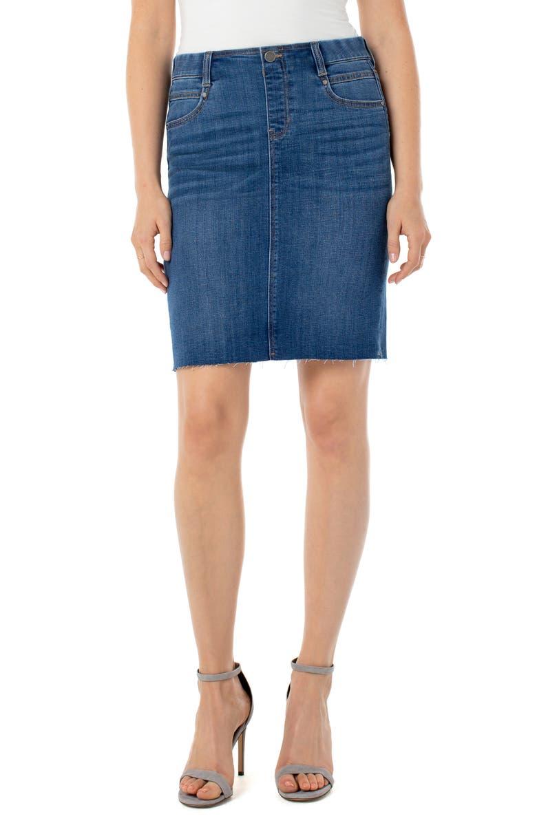 LIVERPOOL Gia Pull-On Denim Pencil Skirt, Main, color, SONNET