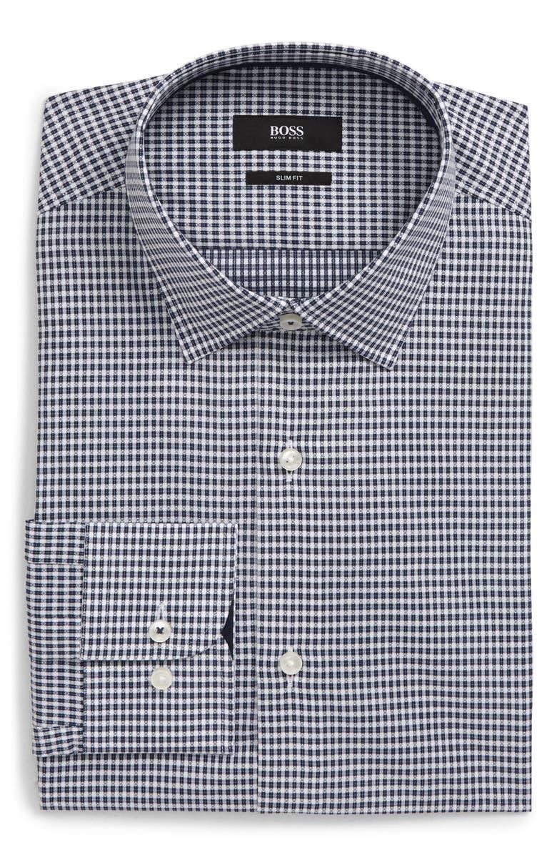 BOSS Slim Fit Check Dress Shirt, Main, color, DARK BLUE