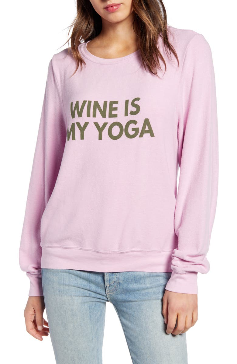 WILDFOX Baggy Beach Jumper - Wine Yoga Pullover, Main, color, ORCHID