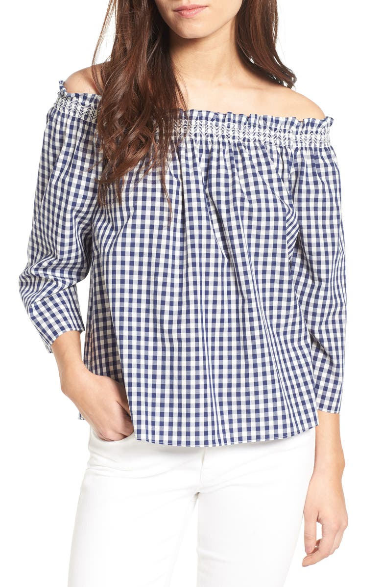 MADEWELL Smocked Gingham Off the Shoulder Top, Main, color, 406