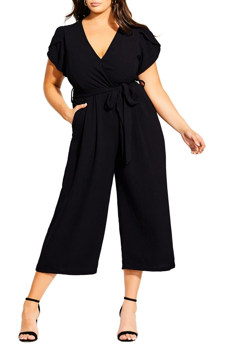 CITY CHIC Zen Out Crop Jumpsuit, Main, color, BLACK