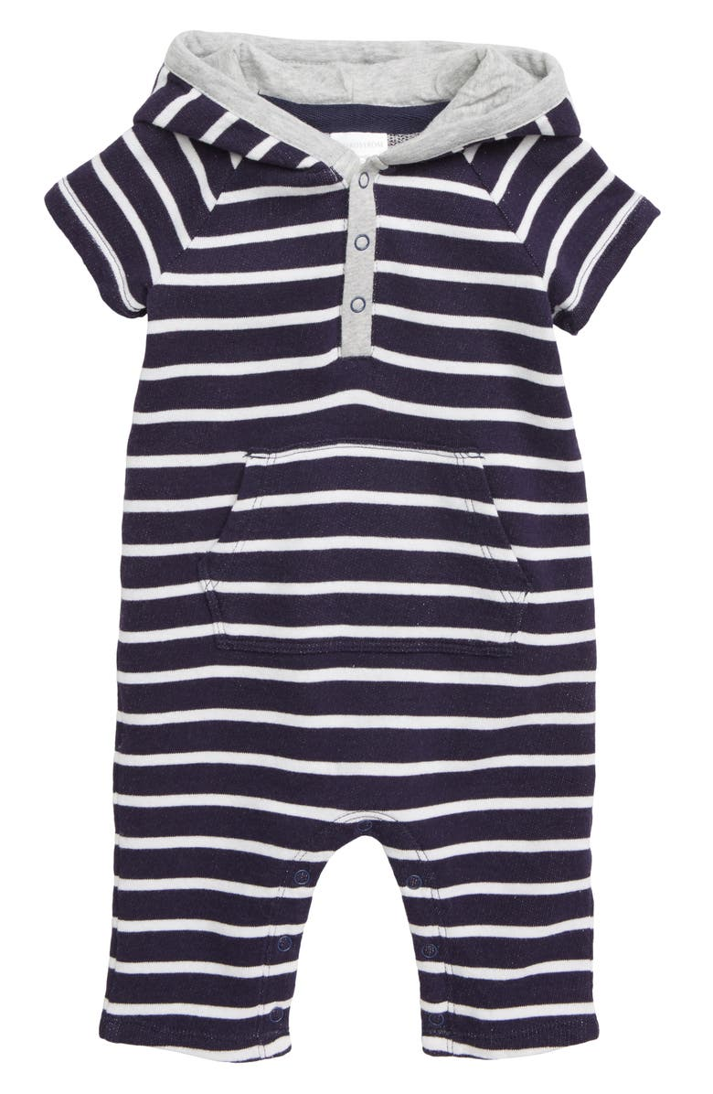 NORDSTROM BABY Stripe Hooded Romper, Main, color, 410