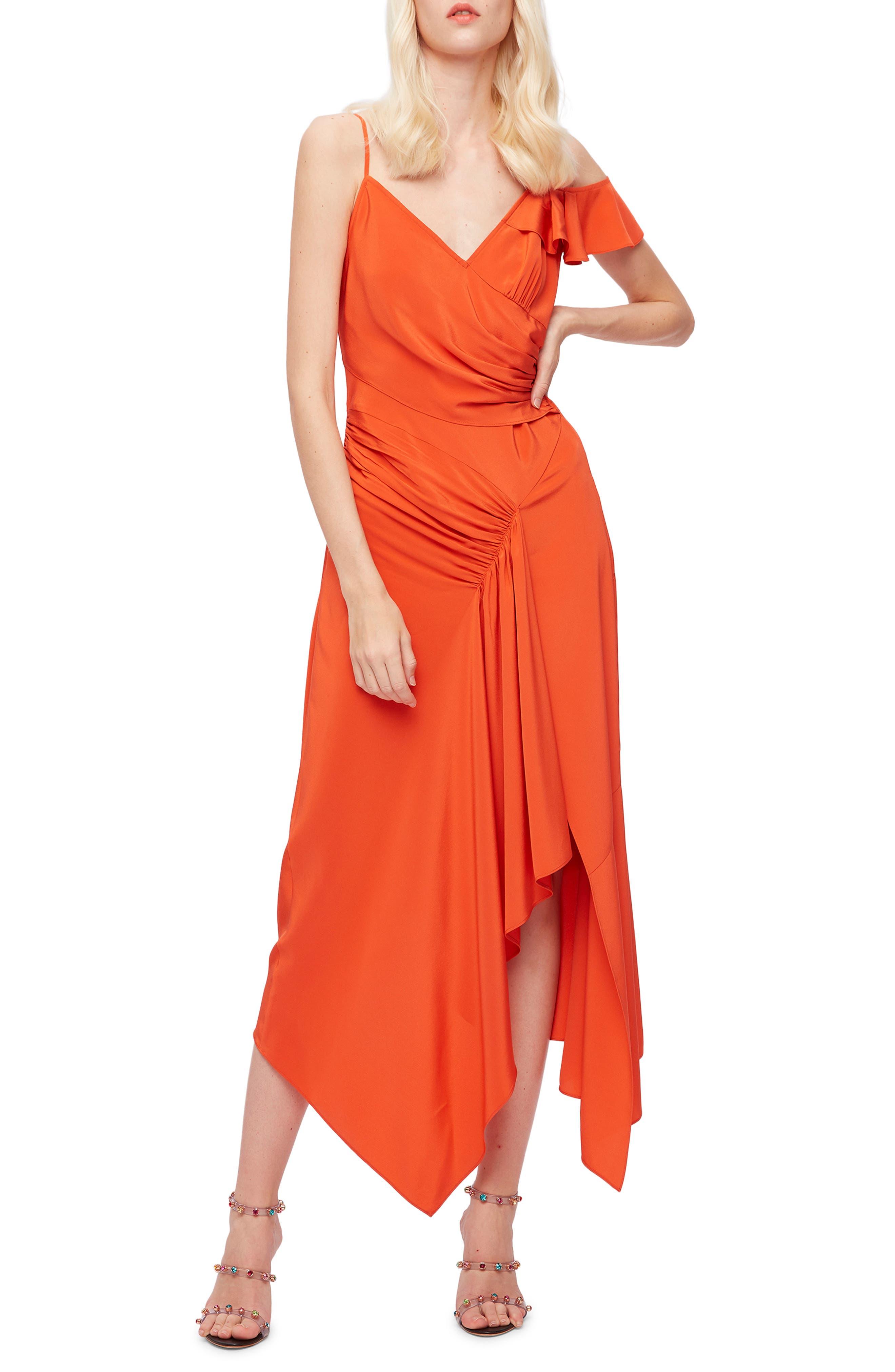 Irene Ruffle Asymmetrical Maxi Dress