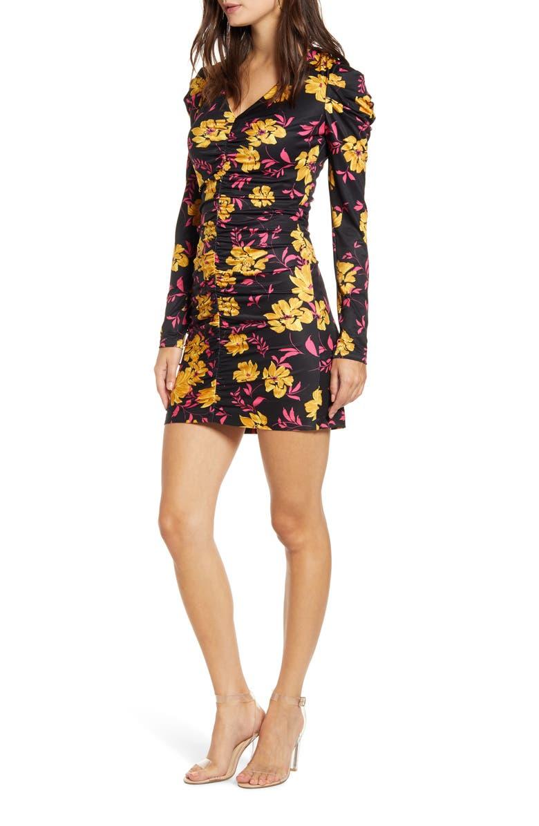 WAYF Fidella Long Sleeve Minidress, Main, color, GARDEN FLORAL
