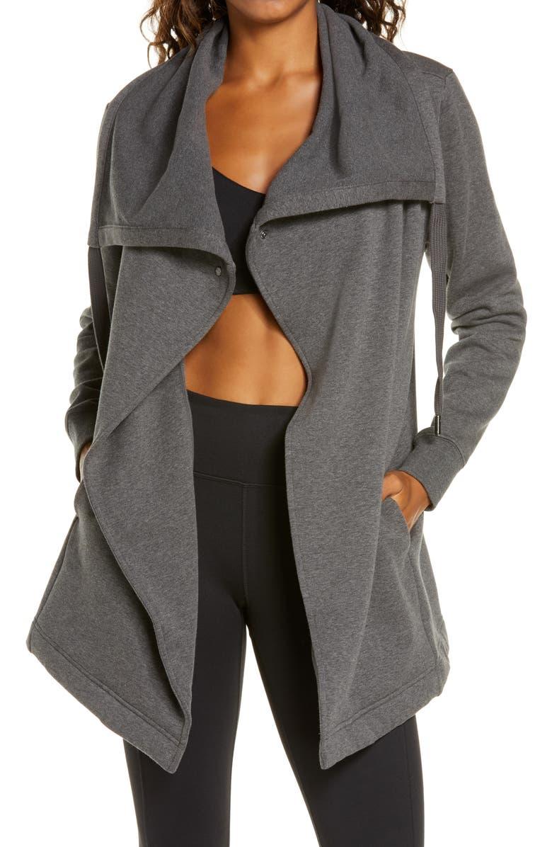 ZELLA Amazing Cozy Wrap Jacket, Main, color, GREY MEDIUM CHARCOAL HEATHER