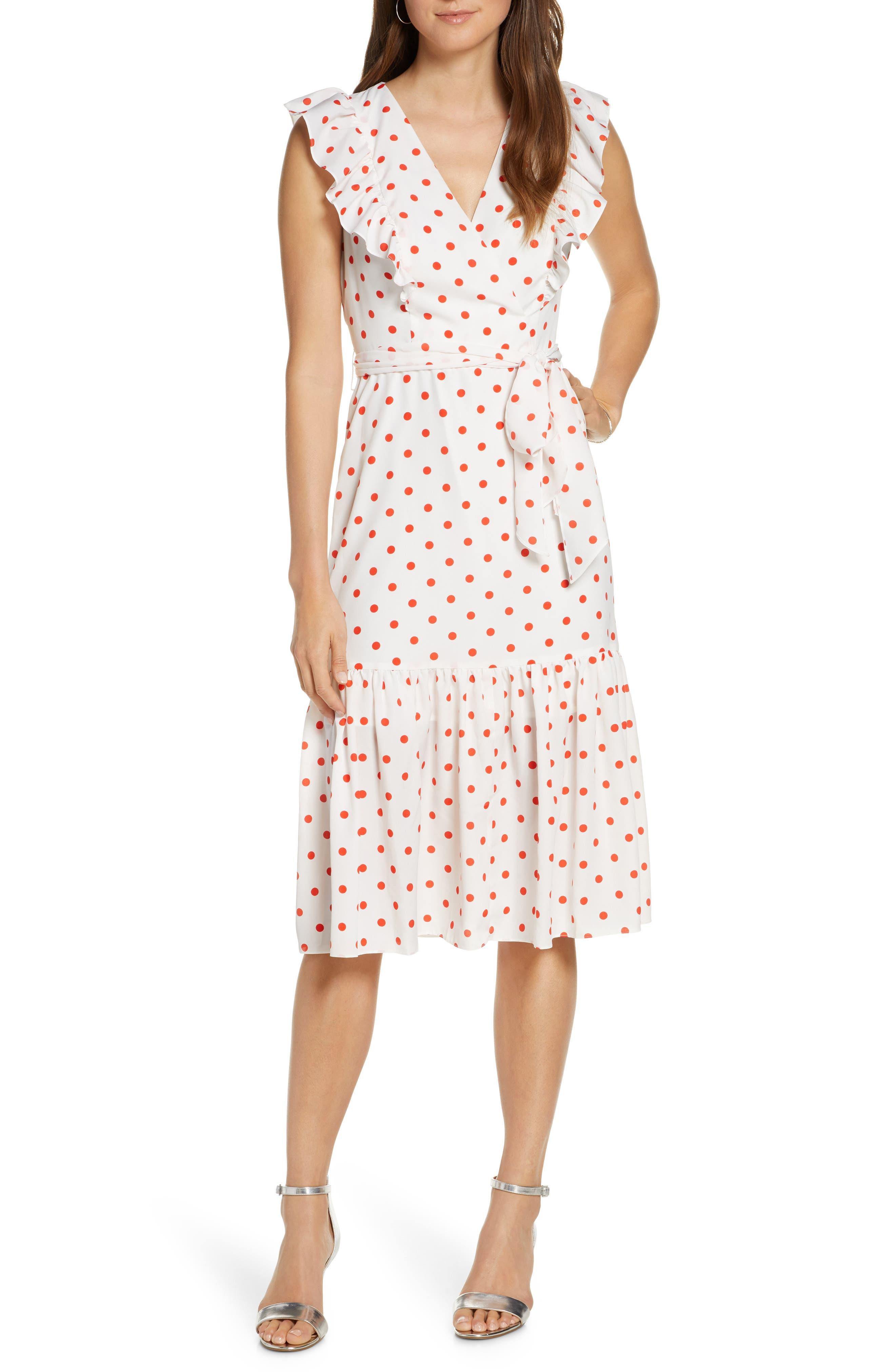 1930s Day Dresses, Tea Dresses, House Dresses Womens 1901 Ruffle Front Polka Dot Tie Waist Dress $149.00 AT vintagedancer.com
