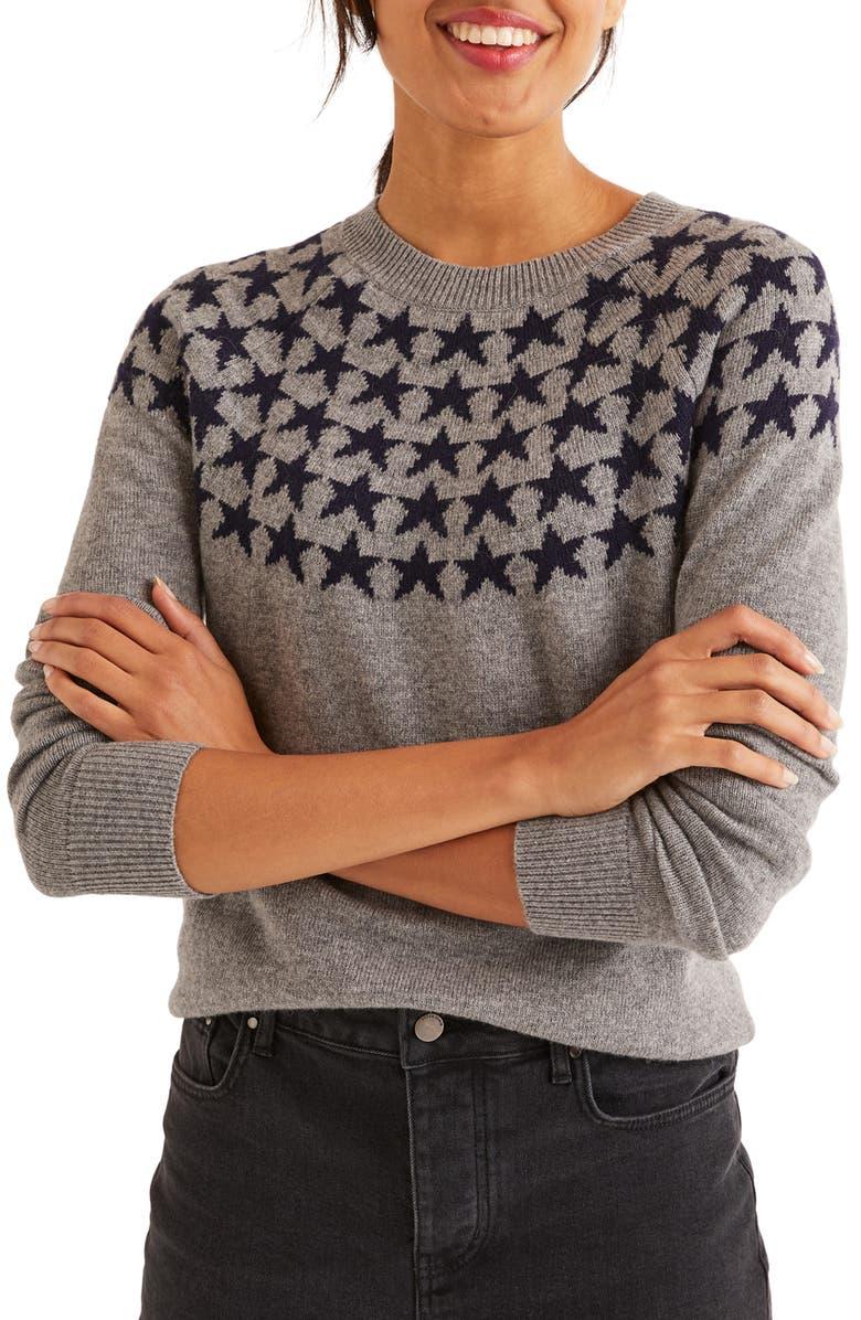 BODEN Zoe Fair Isle Sweater, Main, color, GREY MELANGE/ NAVY