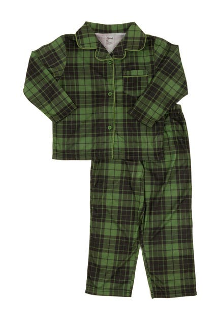 Image of Leveret Green and Black Plaid 2-Piece Button Down Pajama Set