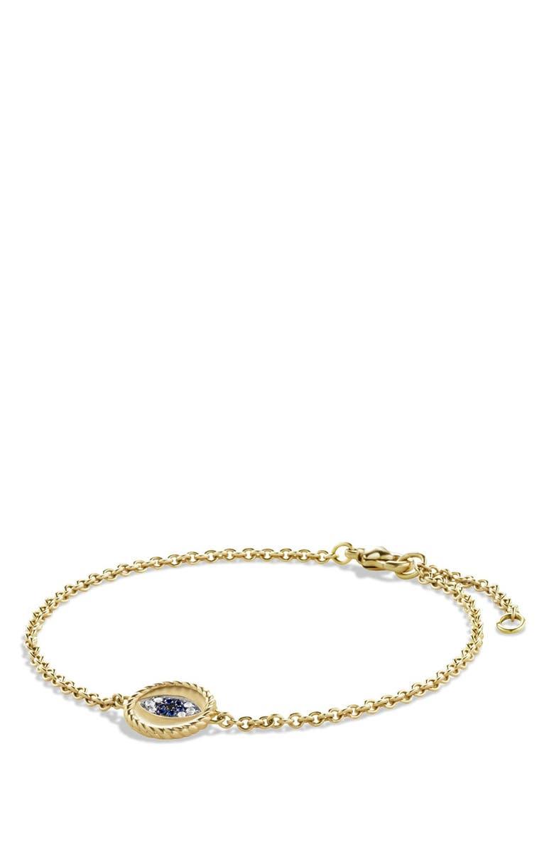 DAVID YURMAN 'Cable Collectibles' Pavé Evil Eye Charm with Blue Sapphire, Diamonds and Black Diamonds in Gold, Main, color, BLUE SAPPHIRE/ DIAMOND