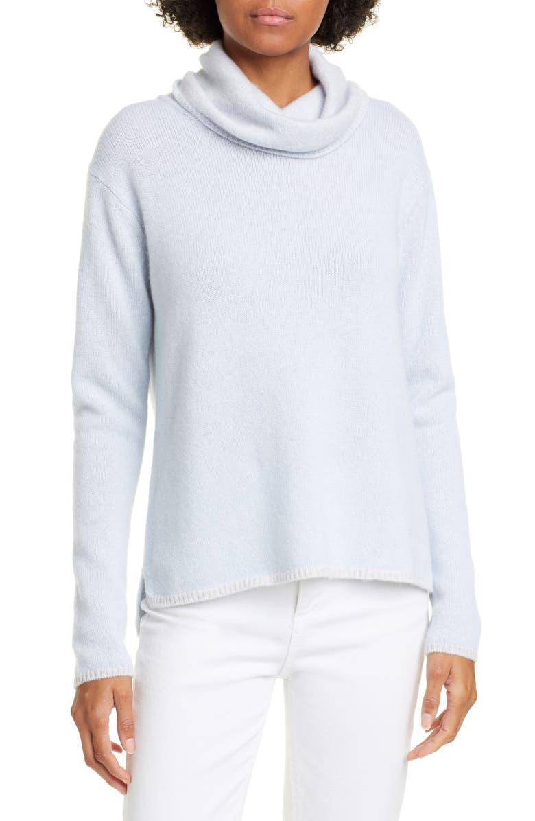 KINROSS Cowl Neck Cashmere Sweater, Main, color, CELESTE/ GRIGIO