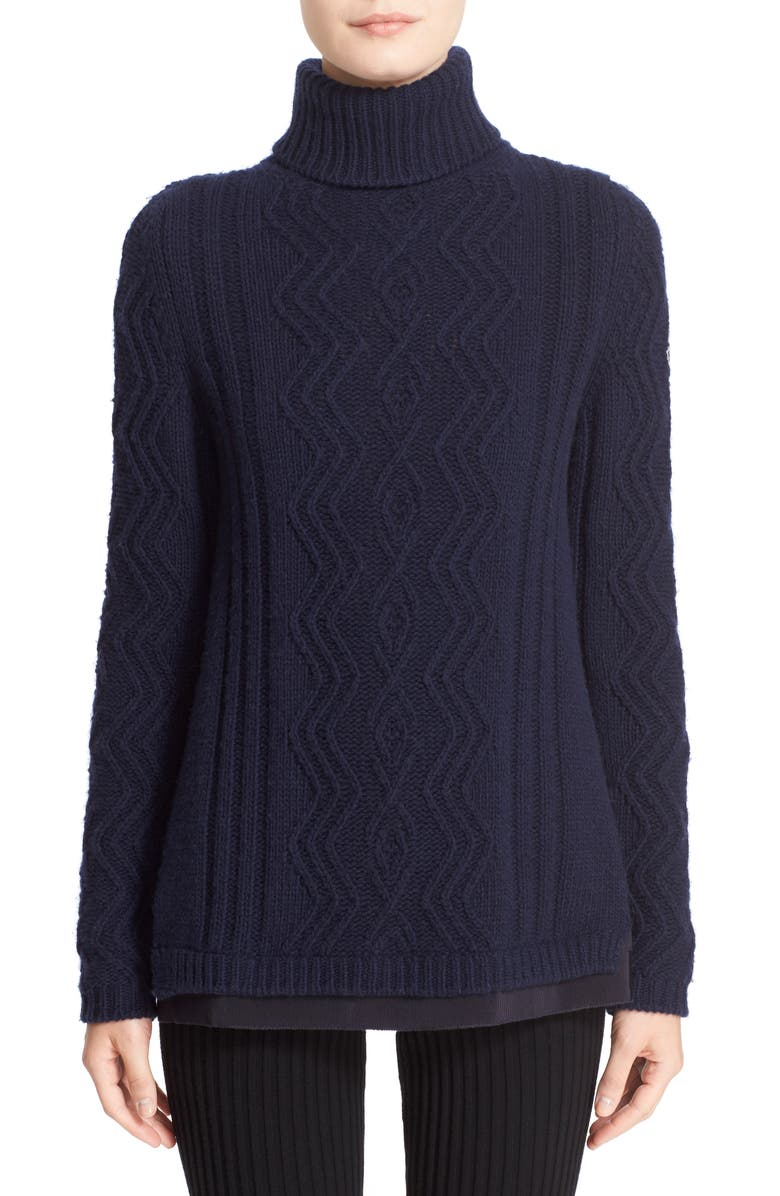 Moncler Braid Knit Wool & Cashmere Turtleneck Sweater