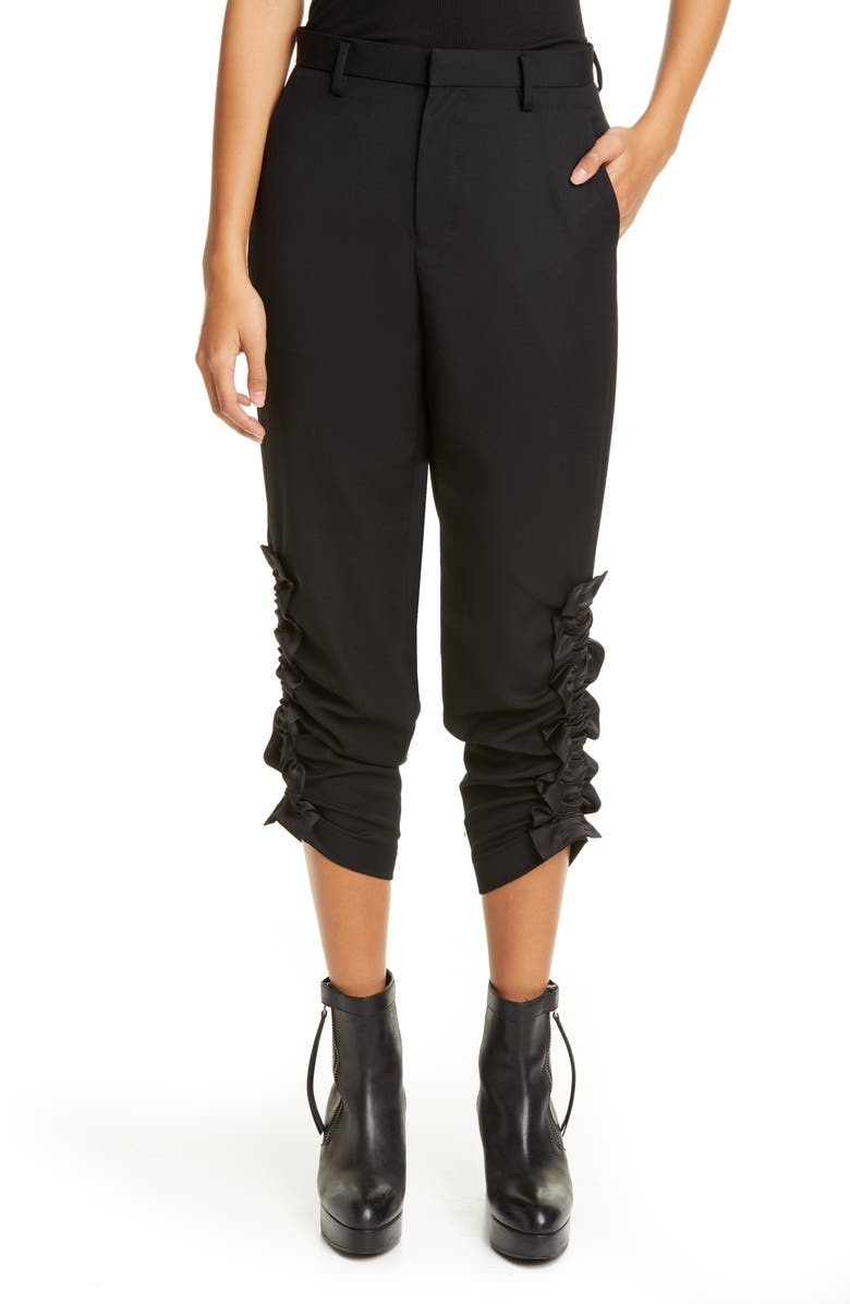 NOIR KEI NINOMIYA Satin Ruched Wool Gabardine Pants, Main, color, BLACK