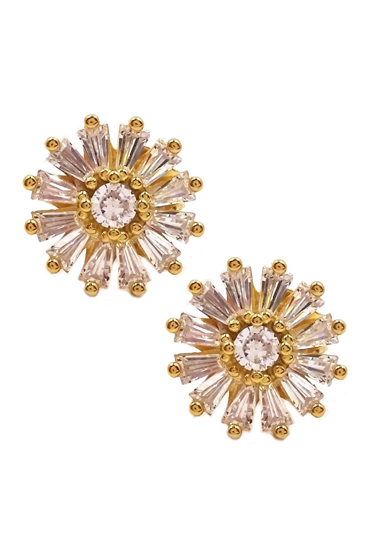 Image of Savvy Cie 18K Gold Vermeil CZ Starburst Tapered Baguette Earrings