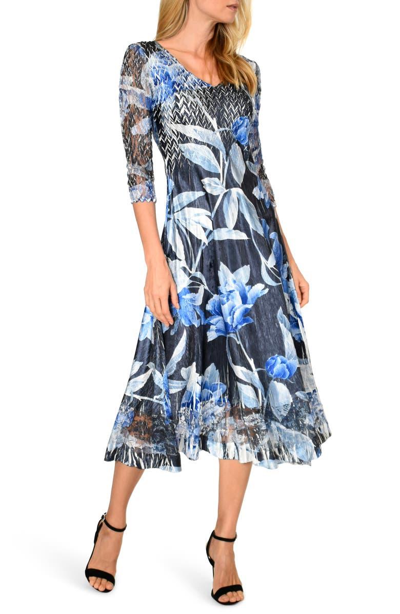 KOMAROV Lace Sleeve Charmeuse Midi Dress, Main, color, INDIGO ROSE