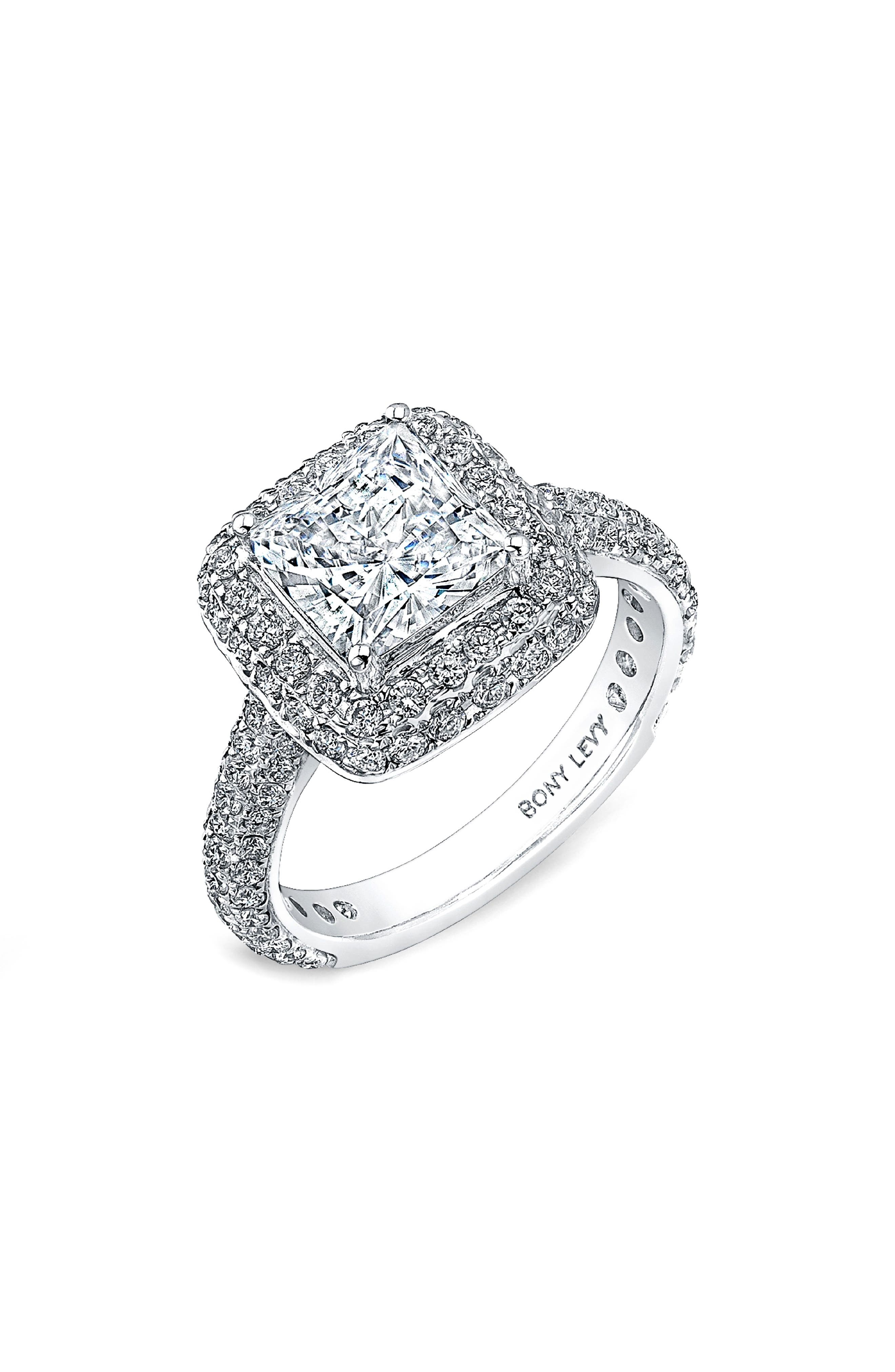 Pave Diamond Double Halo Princess Engagement Ring Setting (Nordstrom Exclusive)