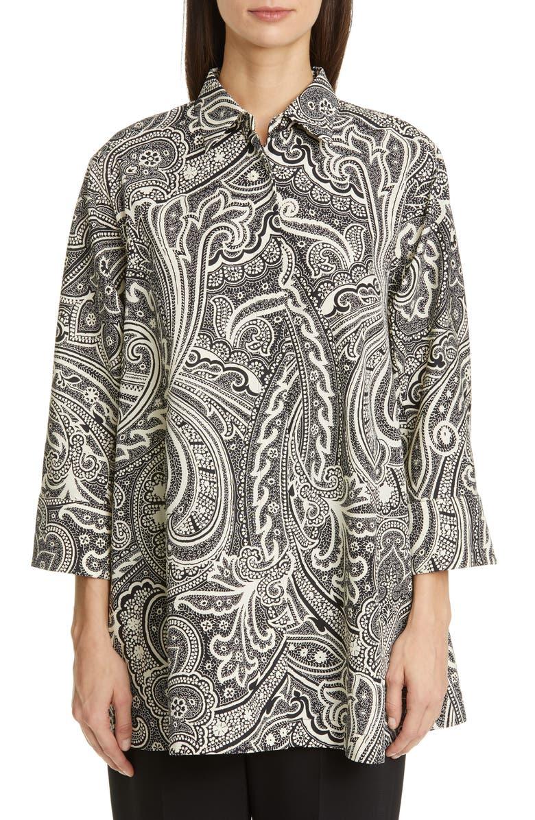 MAX MARA Glauco Print Cotton Tunic Shirt, Main, color, BLACK