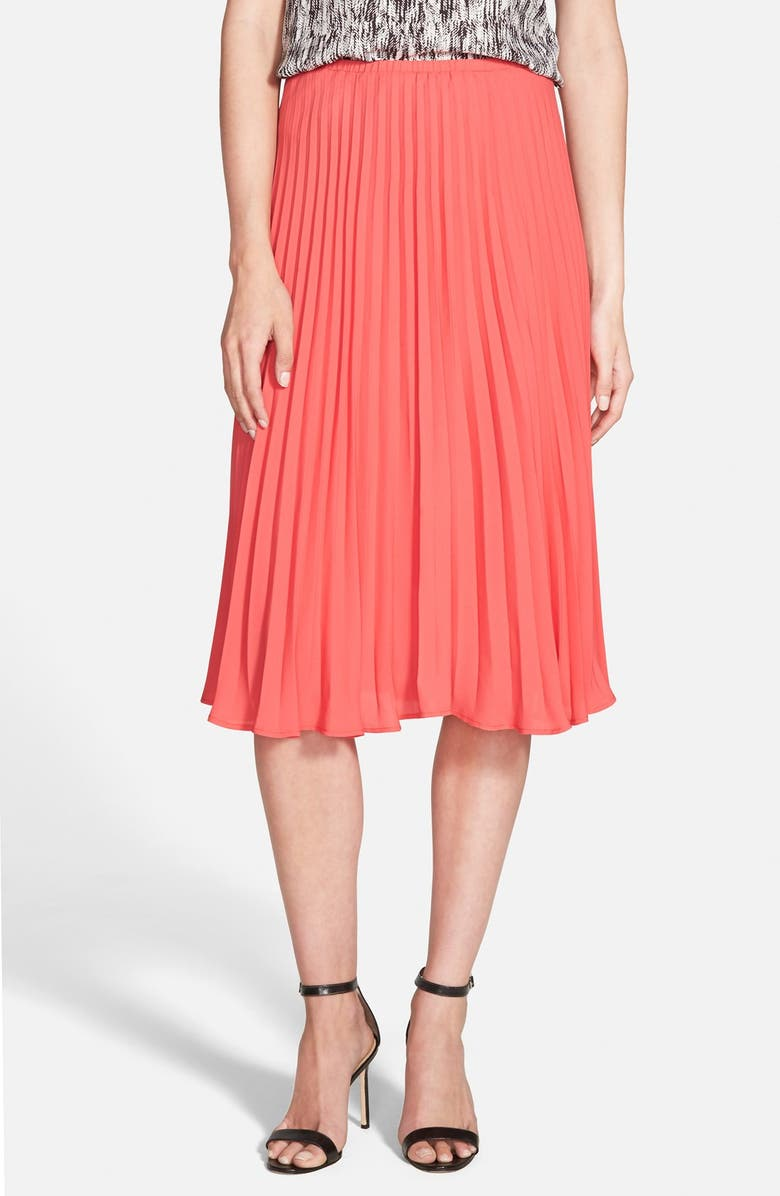 CUPCAKES AND CASHMERE 'Santa Ana' Pleated Skirt, Main, color, POPPY