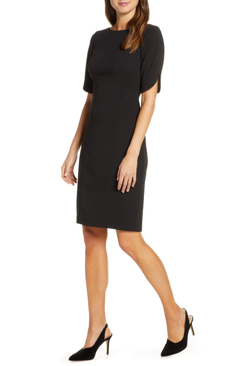 VINCE CAMUTO Scuba Crepe Sheath Dress, Main, color, BLACK