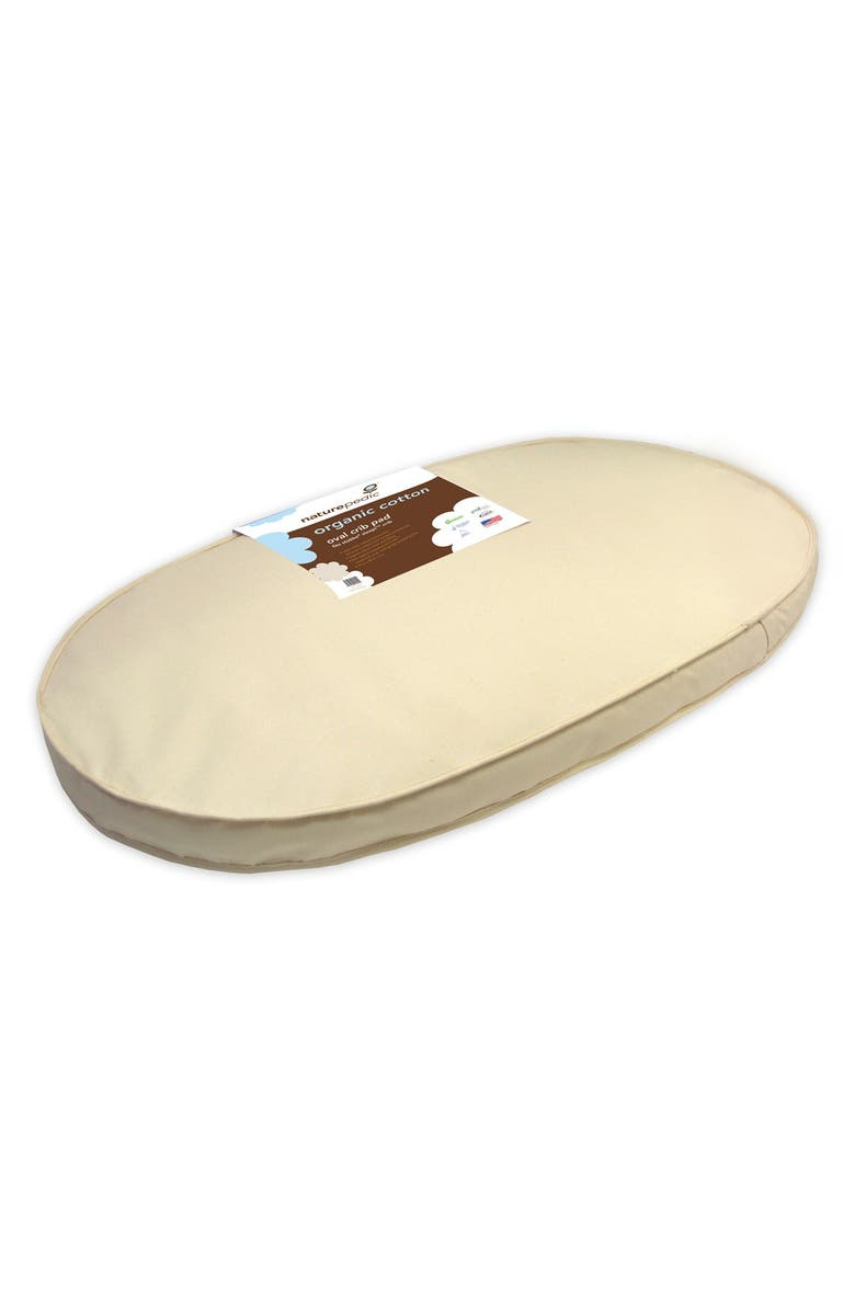 NATUREPEDIC Organic Cotton Oval Crib Mattress for Stokke Sleepi Crib, Main, color, NATURAL